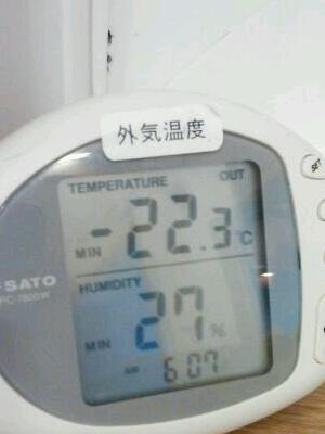マイナス22℃ minus 22 degree!