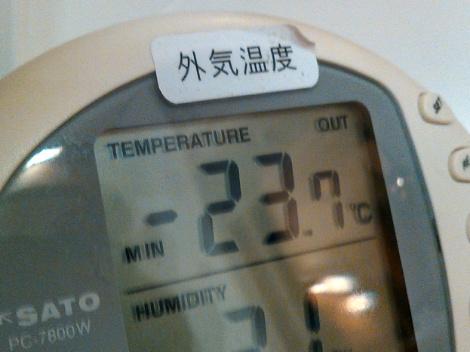 連日マイナス20℃以下です